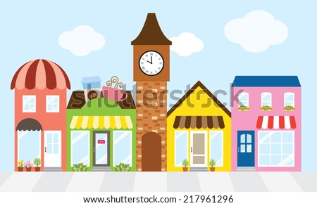 Vector illustration of strip mall shopping center. - stock vector