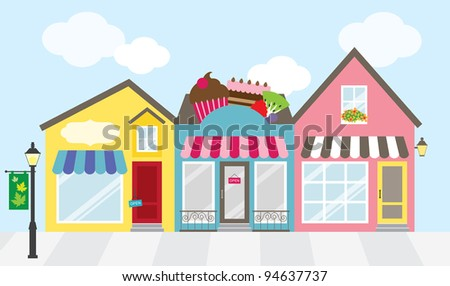Vector illustration of strip mall shopping center. Each store is individually grouped and can be separated easily. No gradient used. - stock vector