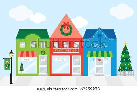 Vector illustration of strip mall shopping center with Christmas decoration. Each store is individually grouped. Window display can be easily edited if you want to add merchandise to display. - stock vector