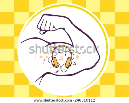 Vector illustration of strong man hand with  icon of headphones on yellow pattern background. Manly line art design for web, site, advertising, banner, poster, board and print. - stock vector