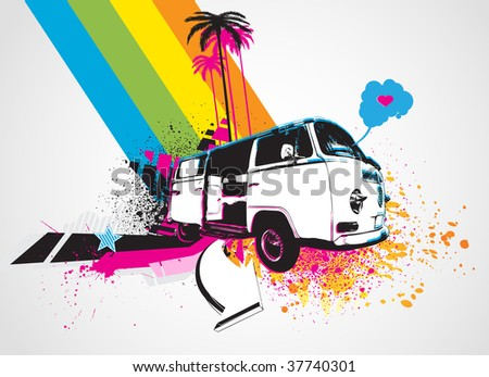 Vector illustration of style Decorative urban background with funny retro bus - stock vector