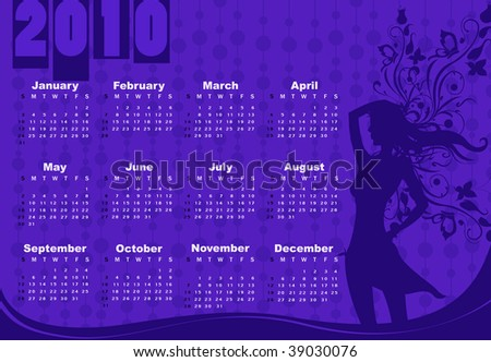Vector Illustration of style design Calendar for 2010 With sexy girl