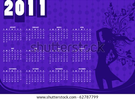 Vector Illustration of style design Calendar for 2011 With sexy girl