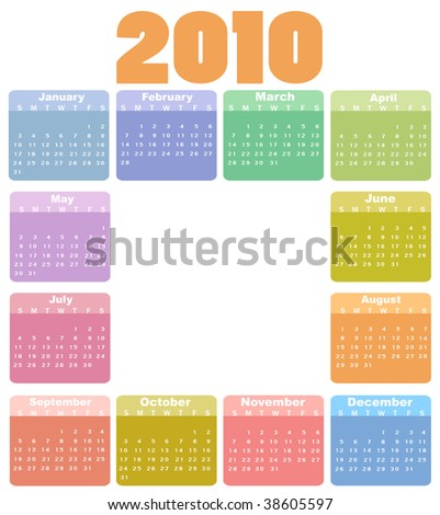 Vector Illustration of style design Colorful Calendar for 2010
