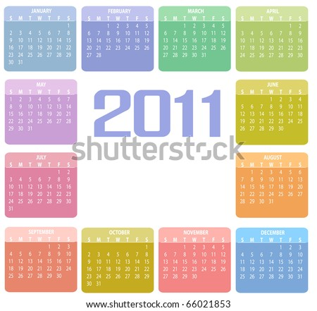 Vector Illustration of style design Colorful Calendar for 2011 - stock vector