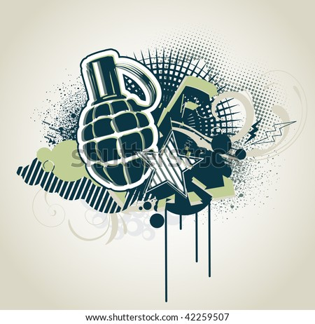 Vector illustration of styled Decorative urban background with funny military elements - stock vector