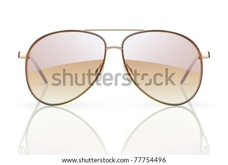 Vector illustration of stylish aviator sunglasses with reflection - stock vector