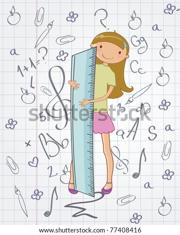 Vector illustration of stylish Colorful Back to school design with cartoon little schoolgirl - stock vector