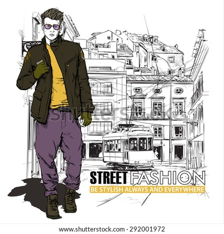 Vector illustration of stylish guy and old tram. - stock vector