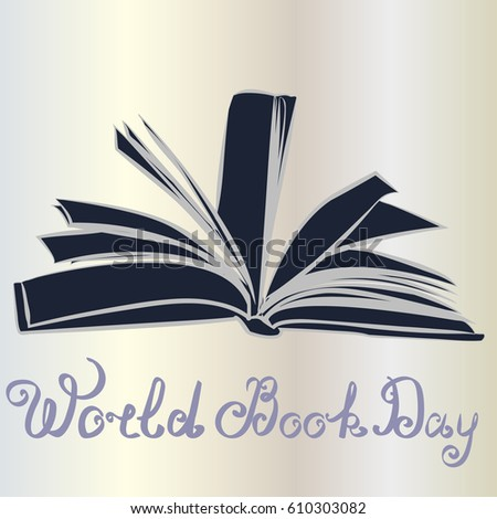 Vector illustration of stylish text for World Book And Copyright Day.