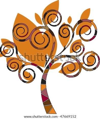 vector illustration of stylized abstract autumn tree - stock vector