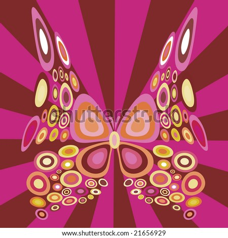 Vector illustration of stylized  butterfly with retro circle shapes design
