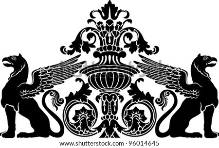 Vector illustration of stylized gryphon. , clip art optimized for  cutting on plotter. Stencil for decor. - stock vector