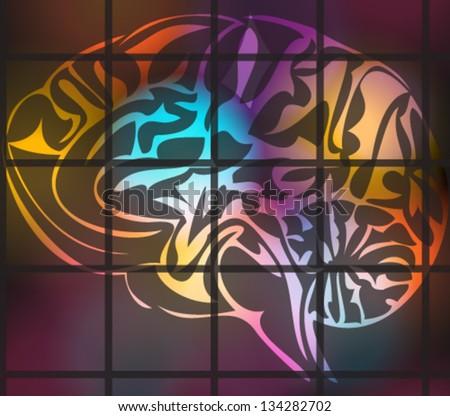 Vector illustration of stylized human brain - stock vector