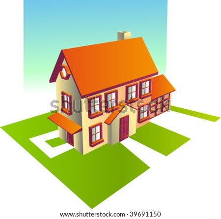 Vector Illustration of suburban family home