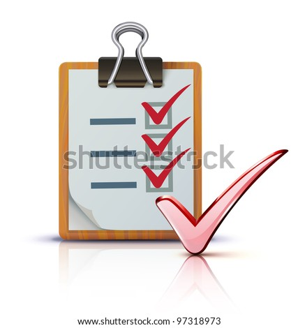 Vector illustration of success concept with cool check list on clipboard - stock vector