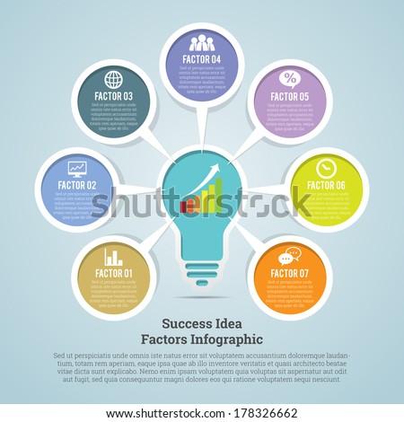 Vector illustration of success idea factors infographic. - stock vector