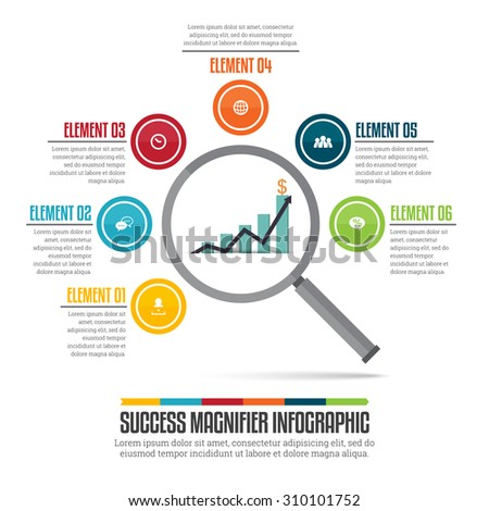 Vector illustration of success magnifier infographic design element. - stock vector