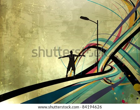 vector illustration of success man standing with raised arms abstract background - stock vector