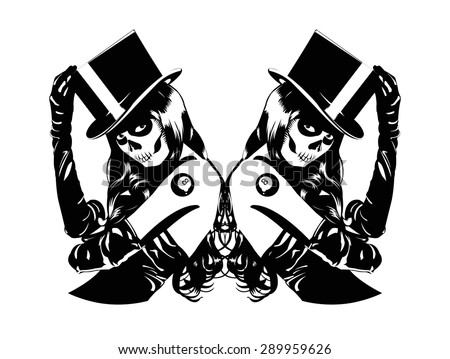 Vector illustration of Sugar Skull girls with billiard ball lucky tattoo   - stock vector