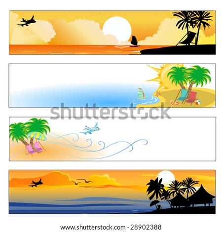Vector illustration of summer beach banners set - stock vector