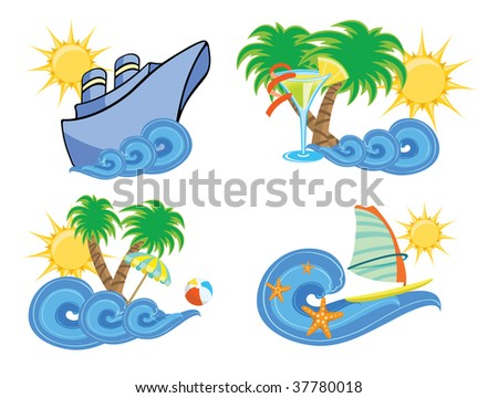 Vector illustration of summer beach insignia set - stock vector