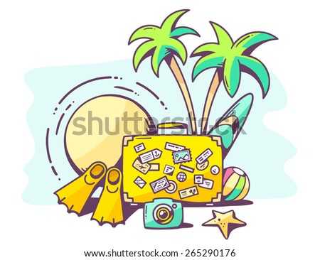 Vector illustration of summer holiday on blue background. Hand draw line art design for web, site, advertising, banner, poster, board and print. - stock vector