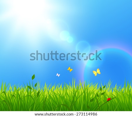 Vector illustration of summer landscape with sunlight. - stock vector