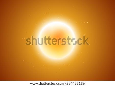 Vector illustration of sun burning in space - stock vector