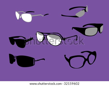 Vector illustration of sunglasses white, black and grey. - stock vector