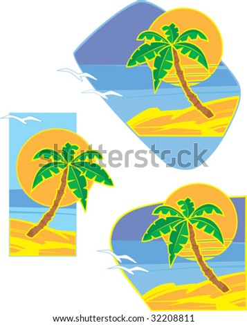 Vector illustration of sunrise on the tropical ocean coast