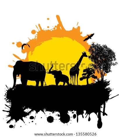 Vector illustration of sunset in wild africa. Elephants and giraffe on grunge background - stock vector