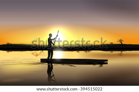 Vector Illustration of Sunset on African River Delta With Man in The Boat, Eps 10 Vector, Gradient Mesh and Transparency Used, Raster Version Available