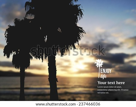 Vector illustration of sunset on the beach. Palms trees silhouettes. Two palm trees silhouette on sunset tropical beach - stock vector