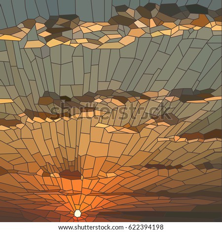 Vector Illustration Sunset Clouds Stained Glass Stock