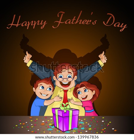 vector illustration of surprised father with kids in Father's Day background - stock vector