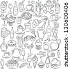 vector illustration of  sweet and drink collection in black and white - stock vector