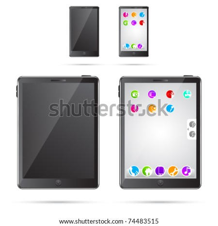 Vector illustration of tablet pc and mobile phone - stock vector