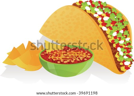 Vector illustration of taco, salsa and nachos - stock vector