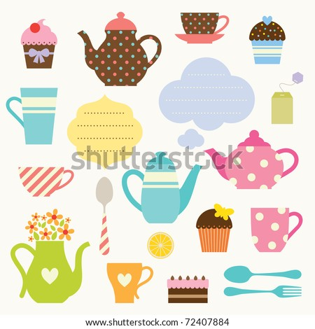 Vector illustration of tea party set. - stock vector