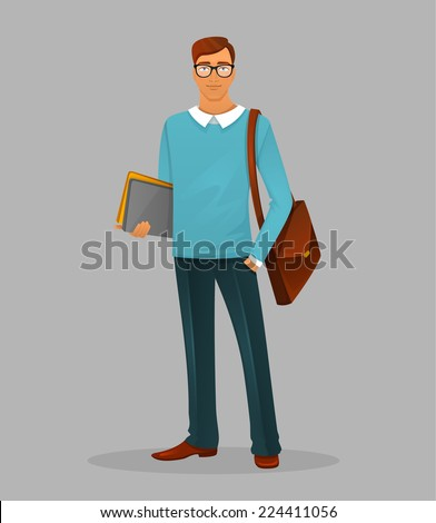 Vector illustration of Teacher man - stock vector