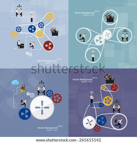 Vector illustration of teamwork, set background