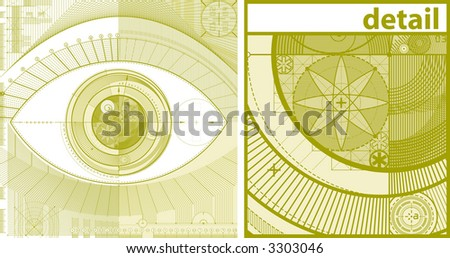 vector illustration of technical draft background as a eye - stock vector