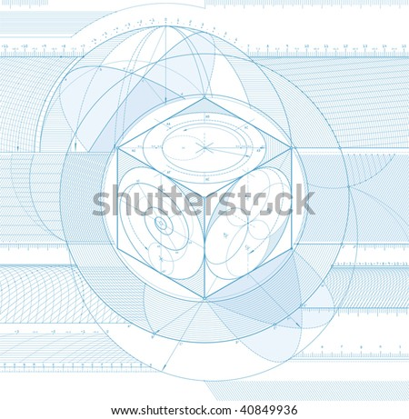 Vector illustration of technical draft background with three-dimensional cube. - stock vector