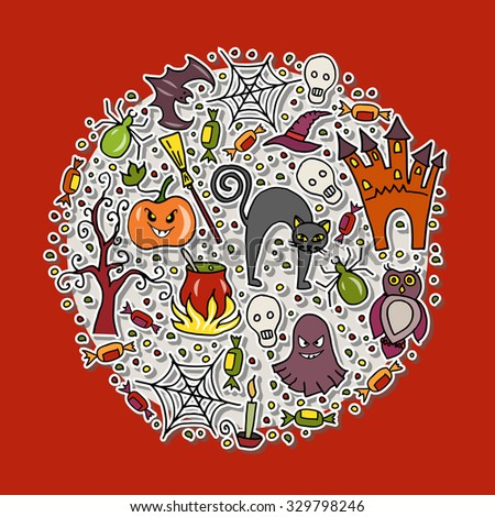 Vector illustration of template for halloween party. Halloween hand sketched objects set on textured background. Poster, banner or background for Halloween Party Night - stock vector