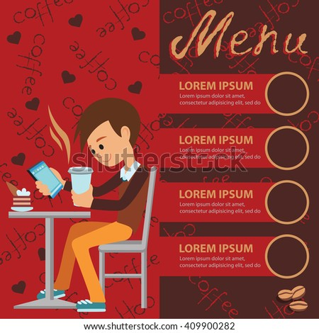 Vector illustration of template for menu, brochure, flyer for cafe or restaurant with a picture of young boy sitting at table drinking using tablet. - stock vector