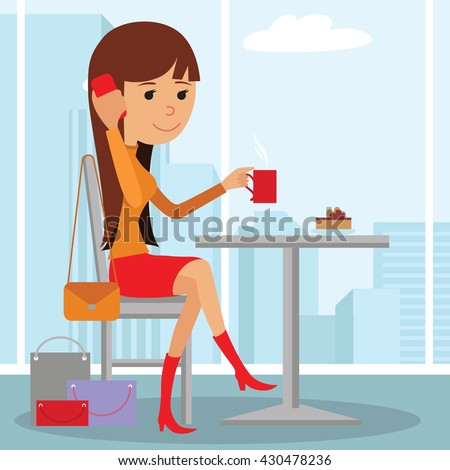 Vector illustration of template for menu, brochure, flyers for a cafe or restaurant with a picture of a young girl sitting at a table drinking coffee and using phone. - stock vector