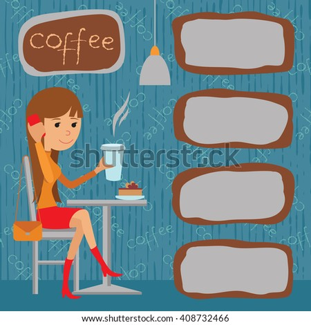 Vector illustration of template menu, brochure, flyer for cafe or restaurant with picture young girl sitting at table drinking beverage and using phone. - stock vector