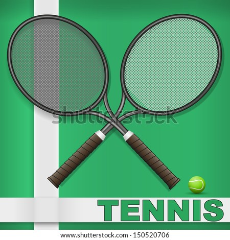 Vector illustration of tennis racket and ball on grass court - stock vector