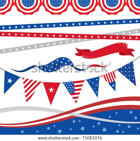 "Vector illustration of ""4th of July"" borders and graphic elements. - stock vector"